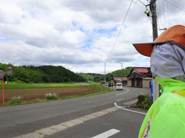 交通安全人形 羽後町田代 目線